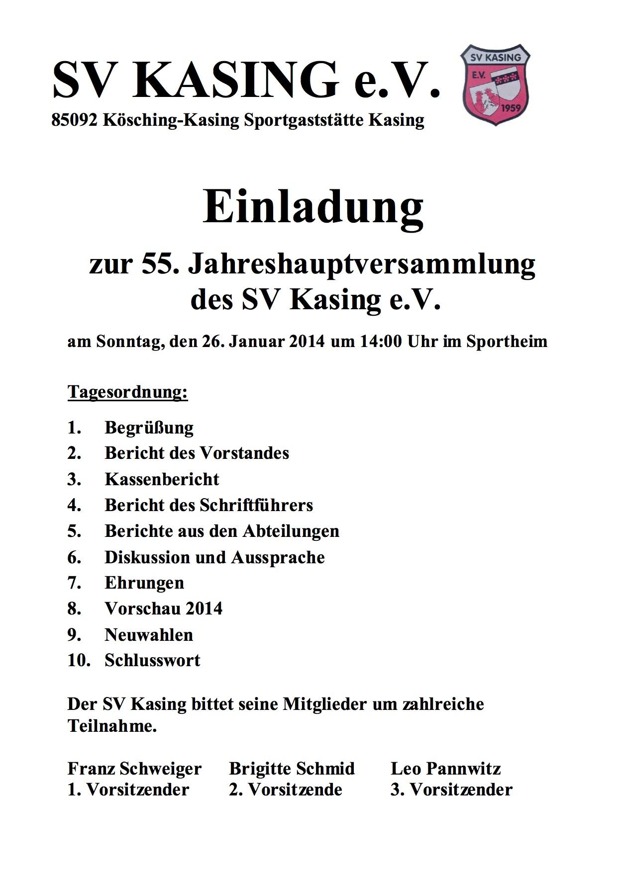 einladung zur 55. jahreshauptversammlung – sv kasing e.v. 1959, Einladung