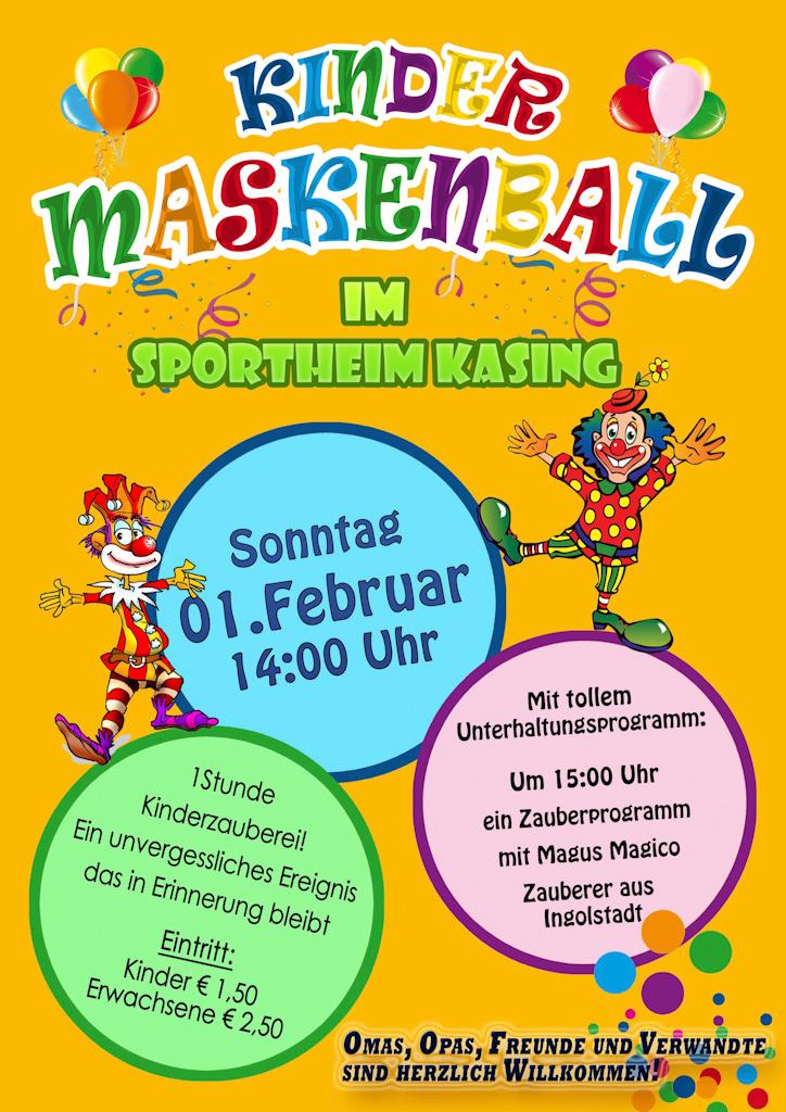 Einladung zum Kindermaskenball – SV Kasing e V 1959